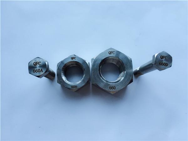 aleación 660 pernos hexagonales y tuercas, sujetadores din1.4980