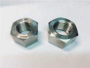 No.76 Duplex 2205 F53 1.4410 S32750 sujetadores de acero inoxidable tuerca hexagonal pesada